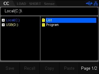 Save Recall setting parameters