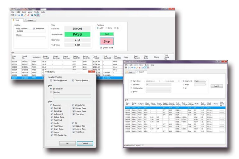The utility software Data Acquisition for TOS5300 (Freeware)